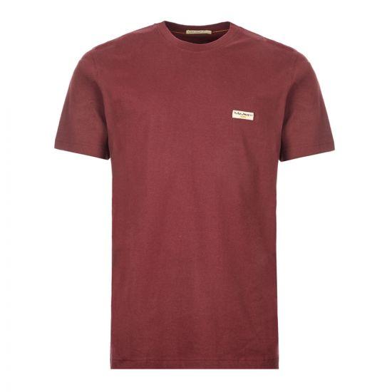 Nudie Jeans T-Shirt Daniel Logo - Fig / Burgundy  21109CP 0