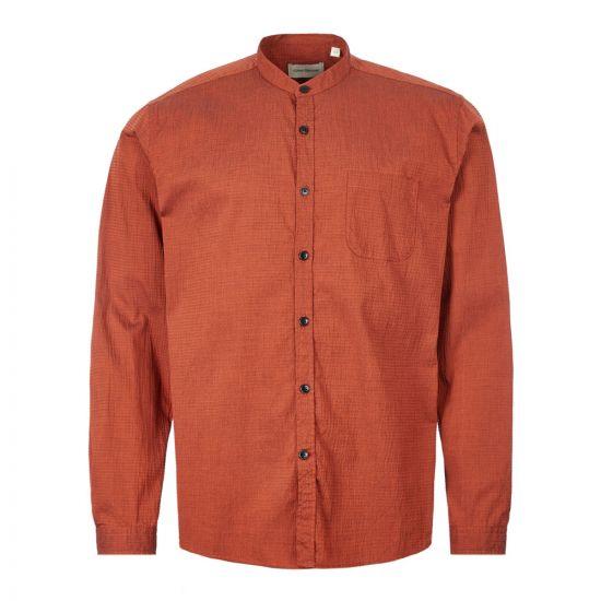 Oliver Spencer Shirt Grandad - Rust 21953CP -1