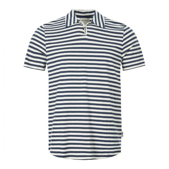 Oliver Spencer Polo Shirt Hawthorn - Navy / Beige 21952CP -1