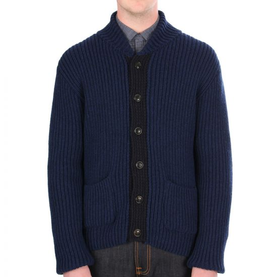 oliver spencer ribbed leithan cardigan prussian navy