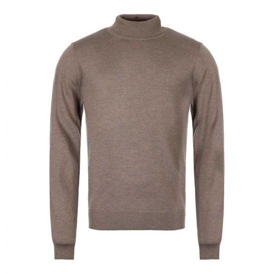 Merino Roll Neck Sweater - Tobacco