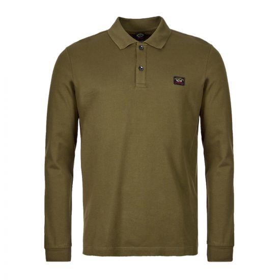 Paul & Shark Long Sleeve Polo Shirt   COP1001 132 Olive