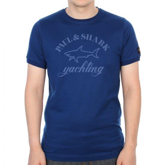 Paul & Shark Short Sleeved Logo Tee in Blue