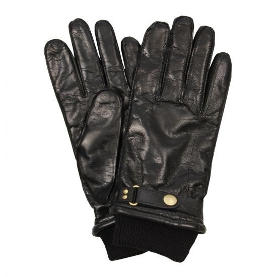 Paul Smith Gloves Black Leather Ribbed Cuffs 219C/G111 B