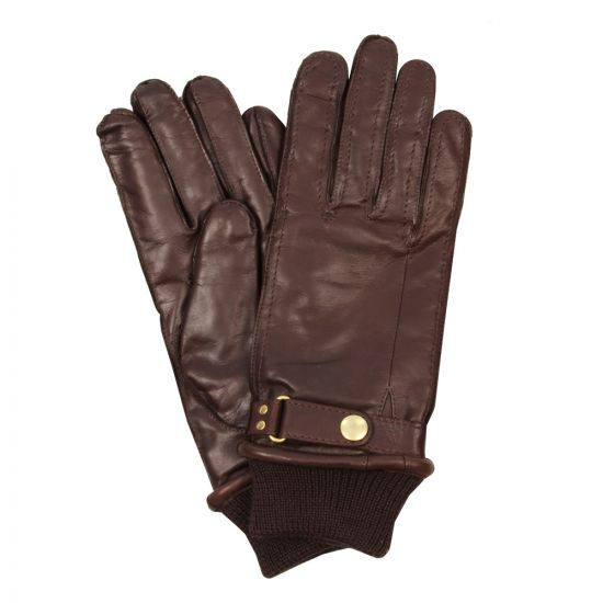 Paul Smith Gloves Chocolate Leather Ribbed Cuffs
