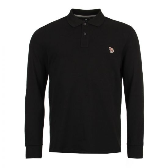 Paul Smith Long Sleeve Polo ShirtCotton PTXD 115L 923Z Black