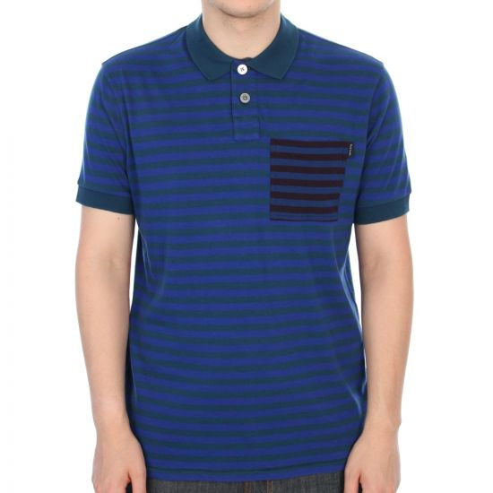 paul smith jeans stripe pocket polo in royal blue
