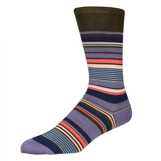 Paul Smith Nautical Stripe Socks in Green