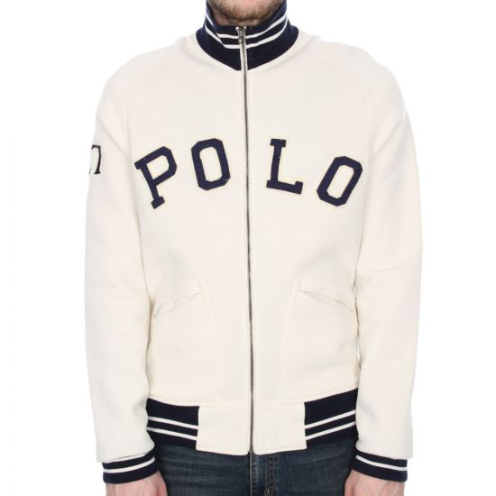 ralph lauren zip logo jacket - white