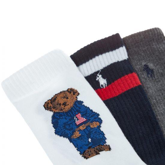 Ralph Lauren 3 Pack Socks | 449742791|001 Multi | Aphrodite Clothing