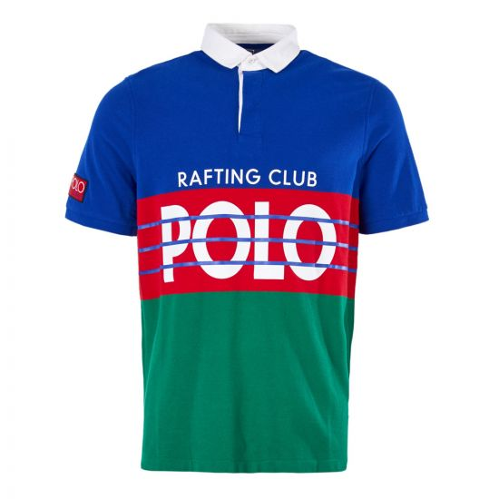 Ralph Lauren Polo Hi-Tech Short Sleeve Rugby Shirt 710717689 001 Royal/Multi