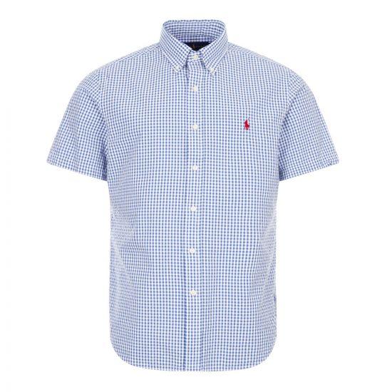 ralph lauren short sleeve shirt gingham 710795250 004 blue / white