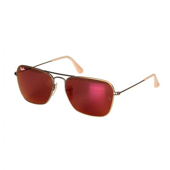 Ray Ban Caravan Sunglasses in Red Mirror