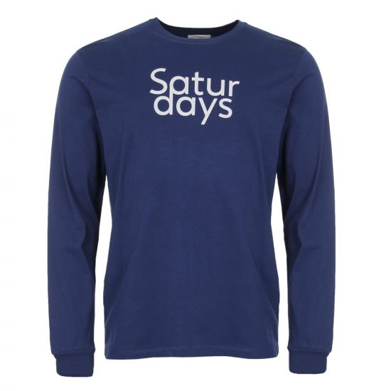 Saturdays NYC Long Sleeve T Shirt M41829 LS01 S4700 Cobalt Blue