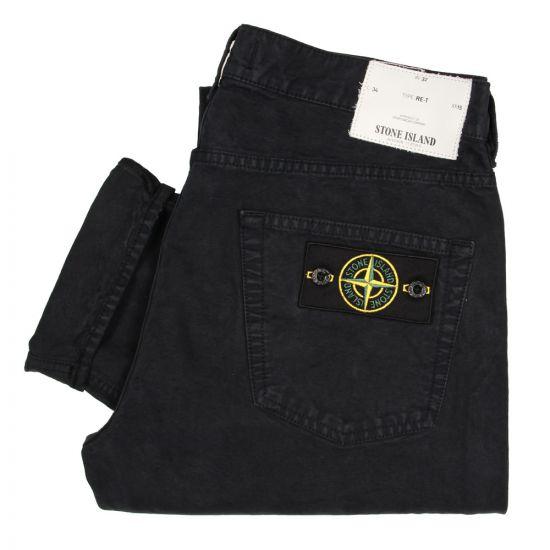 stone island re-t regular tapered chino jeans navy