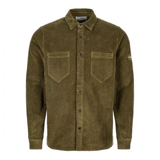 stone island corduroy shirt 711511209 V0058 green