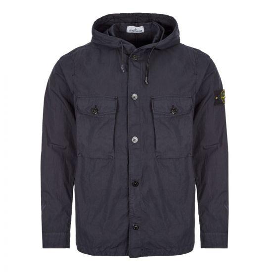 stone island hooded overshirt 721512408 V0020 navy