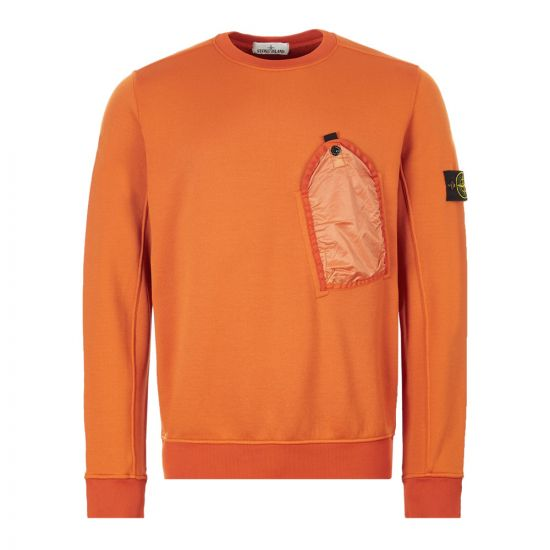 Stone Island Sweatshirt Pocket 711564046|V0032 In Orange At Aphrodite Clothing.