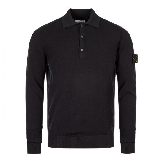 Stone Island Long Sleeve Polo Shirt | 7115589A1 V0029 Black