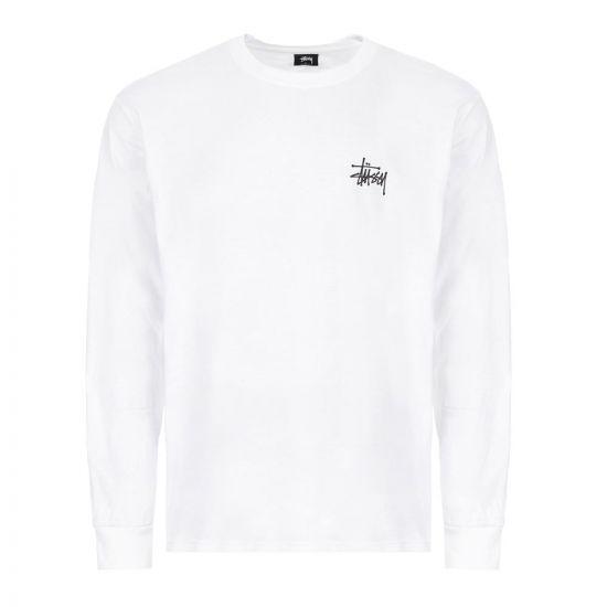Stussy Long Sleeve T-Shirt Basic Logo | 1994500 WHITE