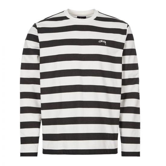 Stussy Long Sleeve T-Shirt Printed Stripe 1140161 BLK Black / White