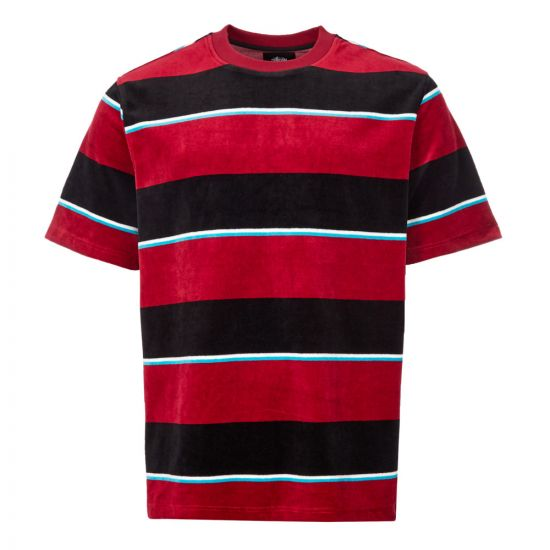 stussy t-shirt velour stripe   1140196 WINE wine