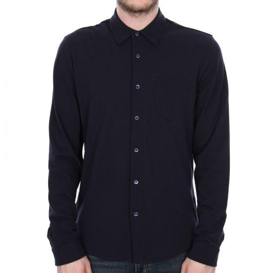 sunspel long sleeve pique shirt navy 1213/188