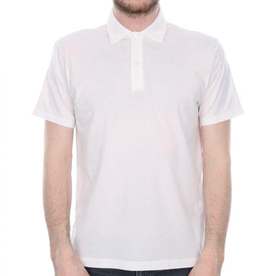 sunspel short sleeve polo shirt in white