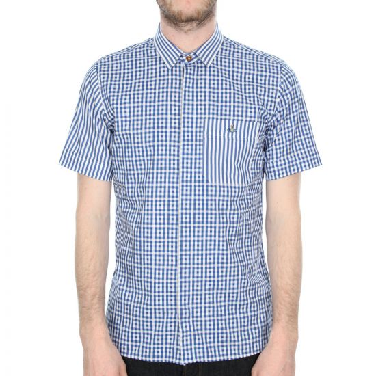 Vivienne Westwood Shirt Blue Check Pac Man Short Sleeve