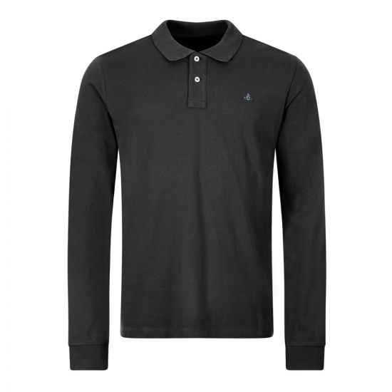 Vivienne Westwood Long Sleeve Polo Shirt , 26010027 21681 N401 Black , Aphrodite 1994