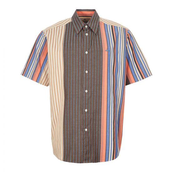 Vivienne Westwood Short Sleeve Shirt | S25DL0483 S52681 001F Stripe / Brown