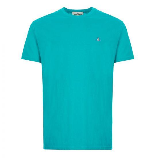 vivienne westwood t-shirt logo S25GC0459 S22634 656 turquoise
