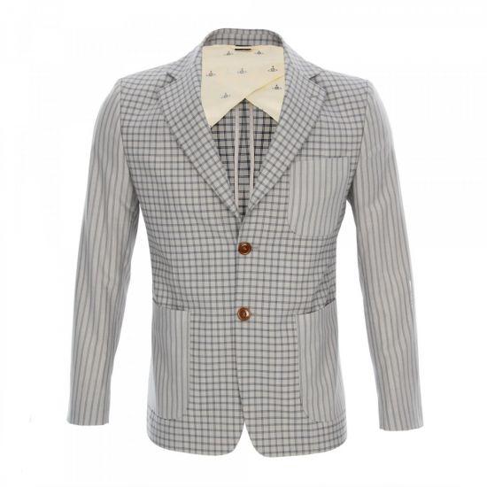 Pattern Blazer Jacket - Grey