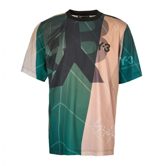 y-3 t-shirt EC9348 green/pink