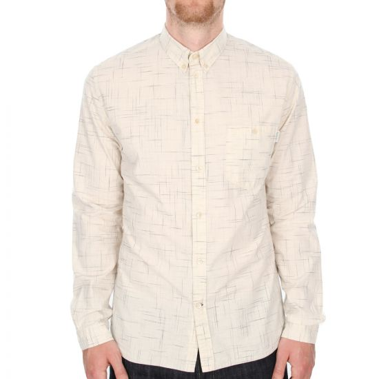 Paul Smith Jeans Abstract Checkered Long Sleeved Shirt  in Cream.