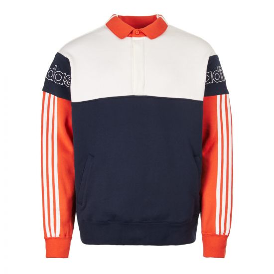 adidas originals rugby sweatshirt DV3146 navy/white/orange
