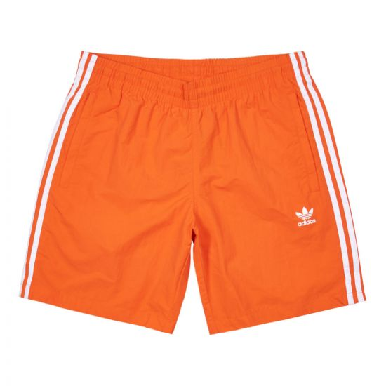 adidas Originals 3 Stripe Swim Shorts | EJ9697 Orange