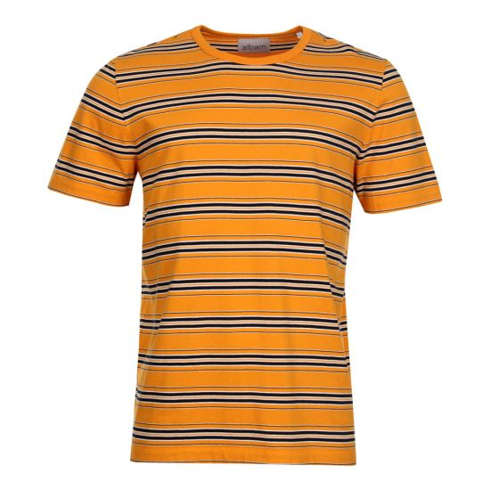 Albam Vintage Stripe T-Shirt in Beeswax & Navy