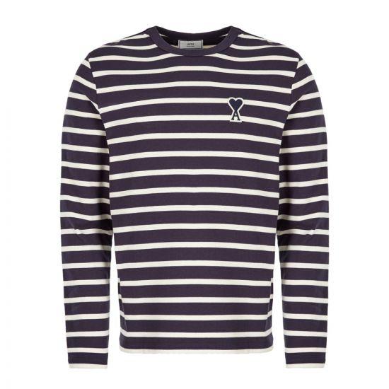 Ami Long Sleeve T-Shirt | H19J106 72 155 Off White / Navy
