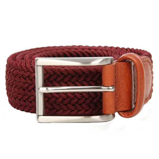 Andersons Belts Woven Bordeaux Red