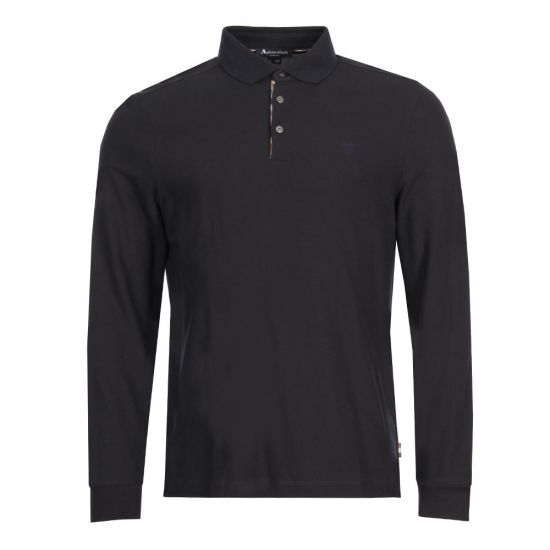 Aquascutum Long Sleeve Polo Shirt Hillington | TGAC17WBFIM-NVY Navy