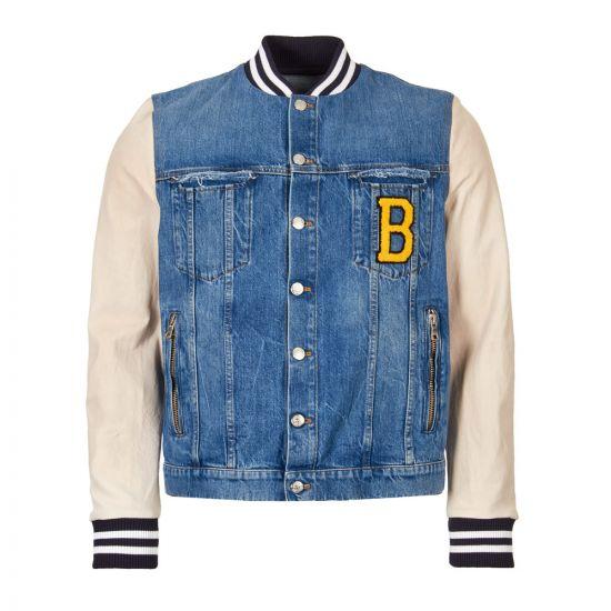 balmain jacket denim and leather RH08905Z065 GAE blue / white