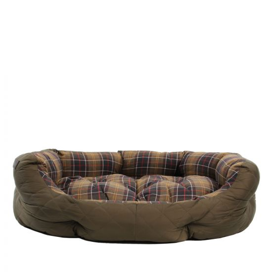 """Barbour Quilted Dog Bed 35"""" UAC0118 OL72 In Olive"""