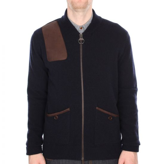 barbour navy islington zip up