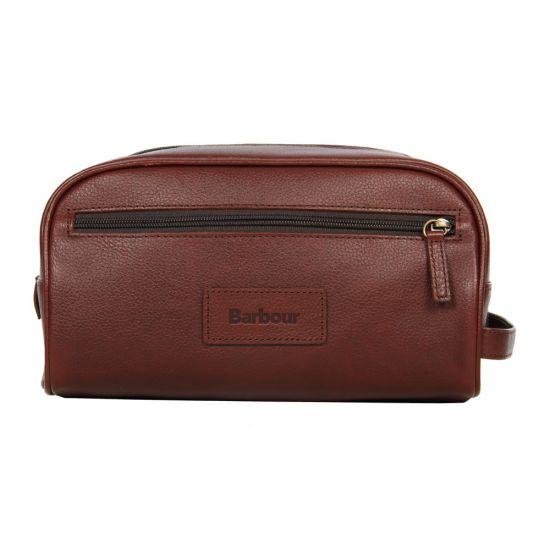 barbour washbag brown leather uba0009