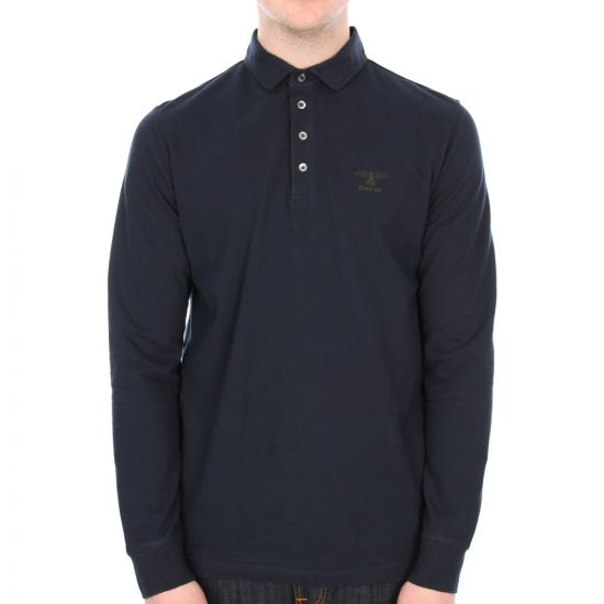 Barbour Standard Long Sleeved Polo in Navy