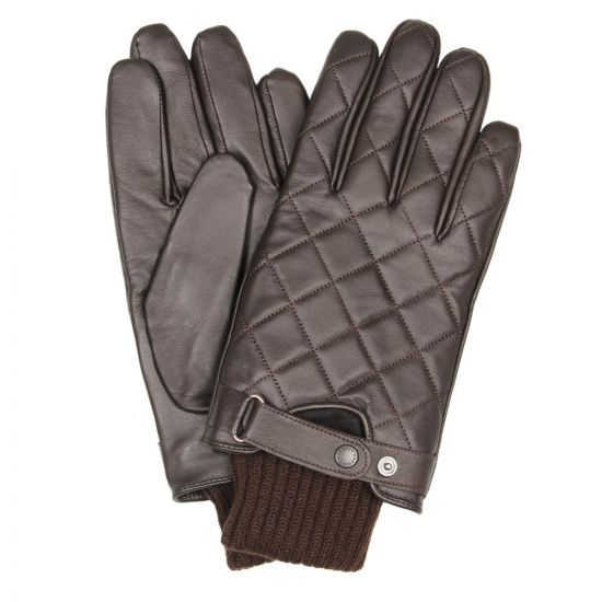 barbour gloves brown quilted leather mgl0027br11