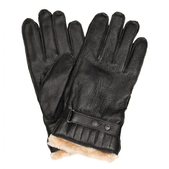 barbour gloves black utility leather mgl0013