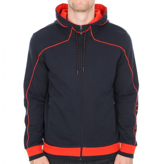 Hugo Boss Green Saggy 1 Hooded Sweatshirt Jacket in Dark Blue