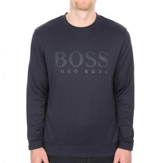 Hugo Boss Green Logo Salbo Sweatshirt in Navy